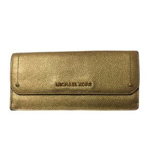 Michael Kors Hayes Gold Leather Flat Wallet